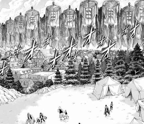 進撃の巨人131話 地ならしで崩壊する村々