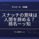 ワンピースネタバレ950話【最新確定】スナッチの意味「名捨て知捨て」!ロー逮捕!