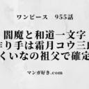 ワンピースネタバレ955話【最新確定】閻魔も和道一文字も霜月コウ三郎!くいなの祖父確定!