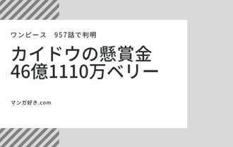 ワンピースネタバレ|カイドウの懸賞金46億1110万ベリーで確定!【957話情報】