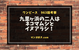 ワンピース963話【最新ネタバレ考察】九里ヶ浜の二人はネコマムシとイヌアラシ!