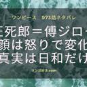 ワンピースネタバレ973話【最新確定速報】狂死郎=傅ジロー!未来に向かう最期の回想!