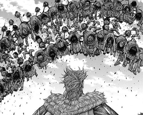 キングダム44巻 桓騎が紀彗に残した残虐な民衆のアーチ
