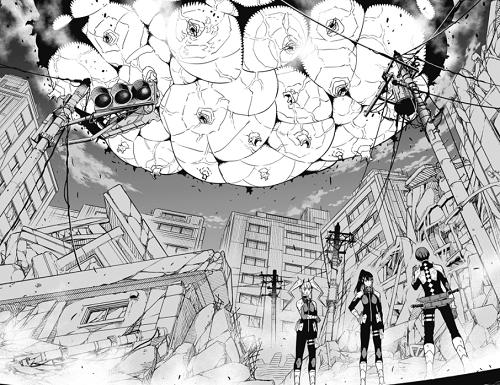 怪獣8号31話 余獣の巨大爆弾が上空から飛来