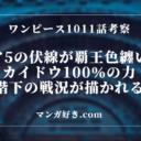 ワンピースネタバレ1011話の考察|覇王色を纏うルフィ!ギガ5登場なるか!