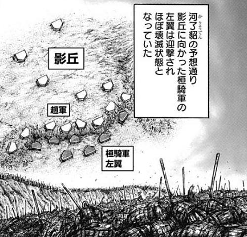 キングダム674話 影丘の地形は丘の上に趙軍がひしめく状態
